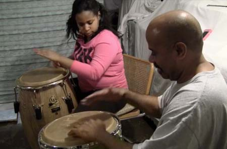 "Estefany Navarro and Sixto ""Tito"" Ayala on congas"