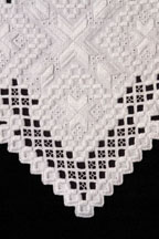 Detail of Hardanger cutwork table runner