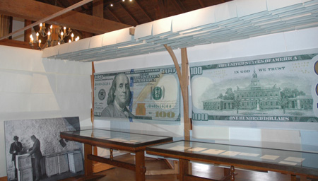 Exhibit cases at Crane Papermaking Museum