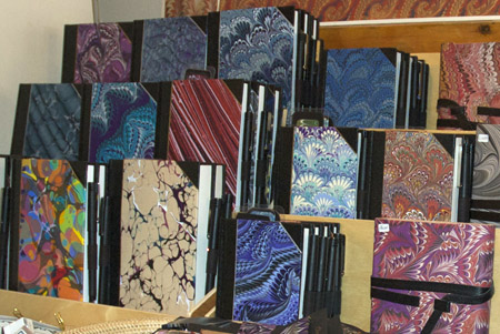 books for sale made with marbled paper