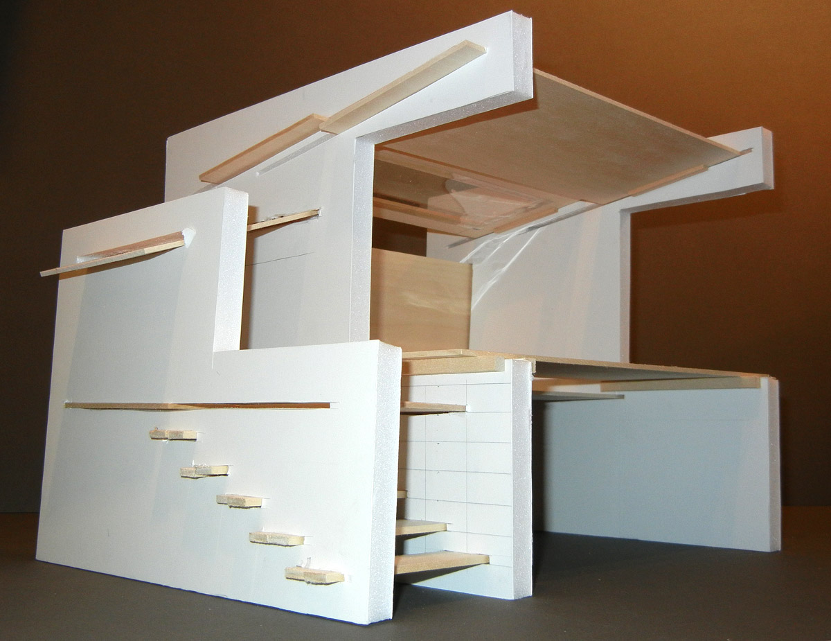 architectural model made of paper and wood