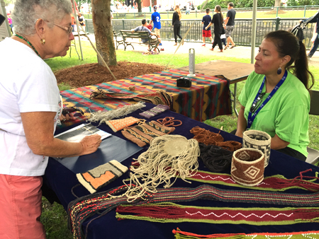 Elizabeth James Perry discussing Wampanoag weaving traditions