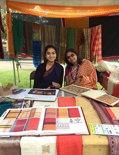 Jaya Aiyer and Lakshmi Narayan displaying South Asian saris