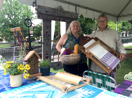 Jonas Stundzia (right) with friend Irene Malasaukas, who demonstrated Lithuanian pickle making in the Foodways tent