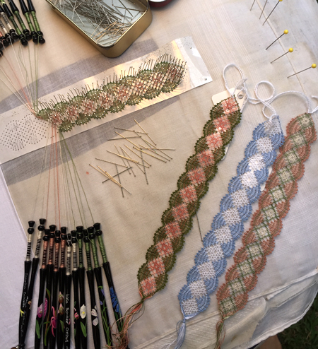 Samples of torchon bobbin lace by Linda Lane