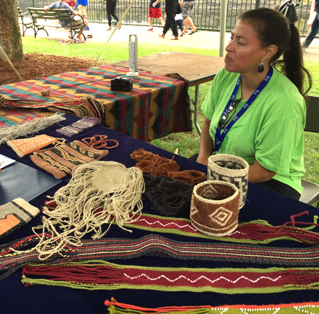 Elizabeth James Perry with Wampanoag weavings