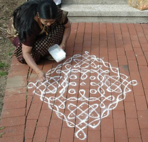 Geetha Anand with her kolam