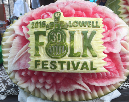Watermelon carving of festival logo by Ruben Arroco